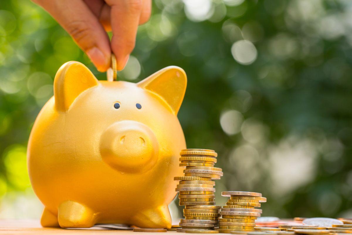 putting coins into piggy bank
