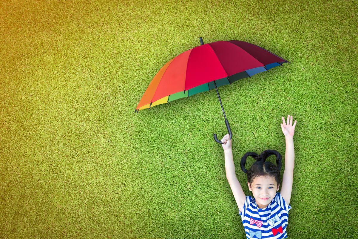 under umbrella